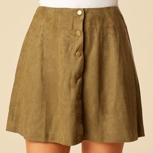 OLive Button Down Suede Skirt